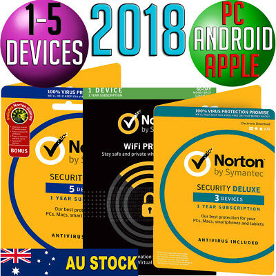 Norton Internet Security✔DELUXE✔PREMIUM✔WIFI✔AntiVirus✔1-5 Device✔PC/Mac/Android