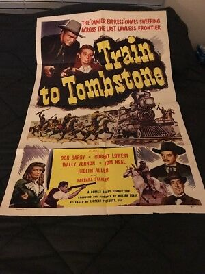1950 Lippert Pictures Movie Poster One Sheet TRAIN TO TOMBSTONE Don Barry