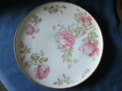 "Haviland Limoges France Pink and Yellow Carnations and Roses 9.5"" Vintage Plate"