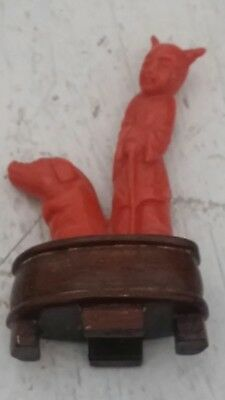 Vintage Chinese Carved Red Coral Sculpture Figurine With Pig