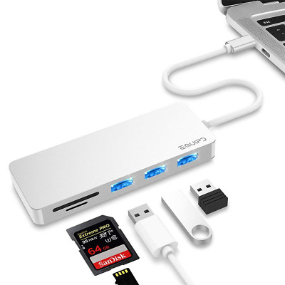 5in1 Aluminum USB C Hub Type-C Adapter with 3 USB 3.0 Ports for Macbook Pro