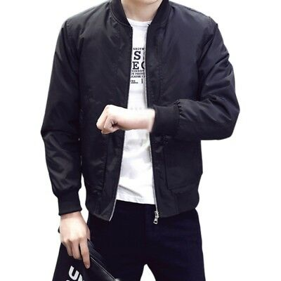 Mens Casual Bomber Jacket Warm Winter Pure Color Baseball Coat Slim Fit Outwear