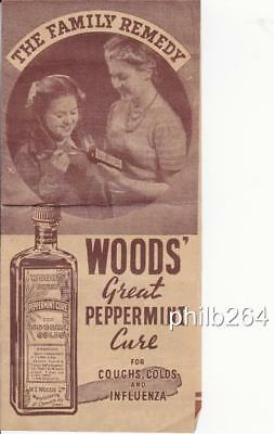 1940's Woods' great peppermint cure sales brochure with directions