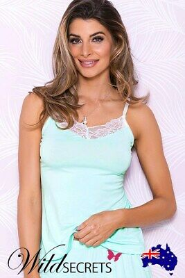 NEW iCollection Aqua Bliss Camisole with Scalloped Lace, Womens Sexy Lingerie