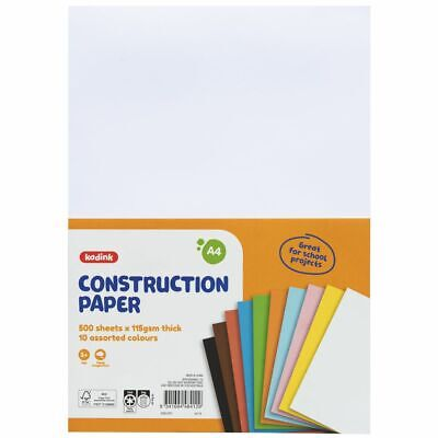 Kadink Construction Paper A4 Assorted 500 Pack