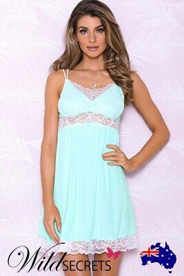 NEW iCollection Aqua Bliss Chemise with Scalloped Lace, Babydoll/Chemise