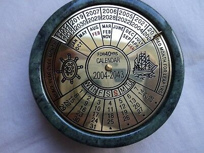 Perpetual Calendar / Paperweight - Marble and brass 2004 to 2043, new in box