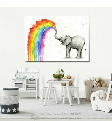 Rainbow Elephant Stretched Canvas Print Framed Kids Wall Art Home Decor AM75