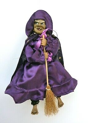 Hanging Kitchen Witch With Broom Collector Dolls Purple Dress Realistic Collecti
