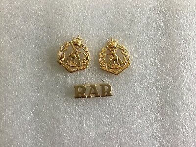 Royal Australian Regiment RAR Skippy Collar Badge Pair And Title.