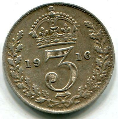 1916 Solid Sterling Silver Vintage WW1 World War One Threepence Somme Jutland