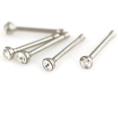 60X Tiny Surgical Steel Nose Studs Ring Clear Rhinestone Body Piercing Jewellery