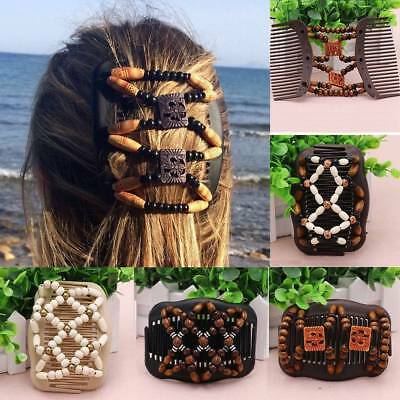 Women Girl Easy Magic Wood Beads Double Hair Comb Clip Stretchy Hair Accessories