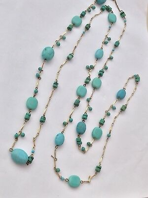"Vtg 54"" Sleeping Beauty Turquoise & Glass Bead Gold Bar Long Chain Yard Necklace"