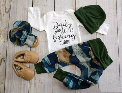 3Pcs Newborn Baby Boy Cotton Tops Romper Long Pants Leggings Outfits Set Clothes
