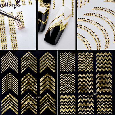 Nail Art Sticker Line Striping Tape Chain Metal Gold Adhesive 3D Foil Decoration