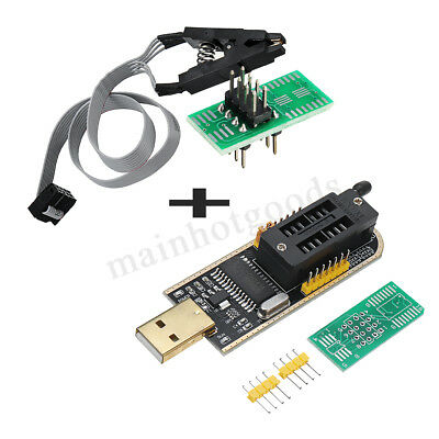 CH341A 24 25 Series EEPROM Flash BIOS USB Programmer + SOIC8 Clip On-Board UK