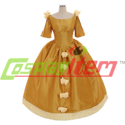victorian medieval yellow gold ball gown dress princess dress custom made