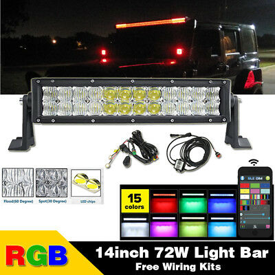 "14"" inch 5D RGB Led Light Bar Work Driving Fit For Truck SUV Jeep Ford Off road"