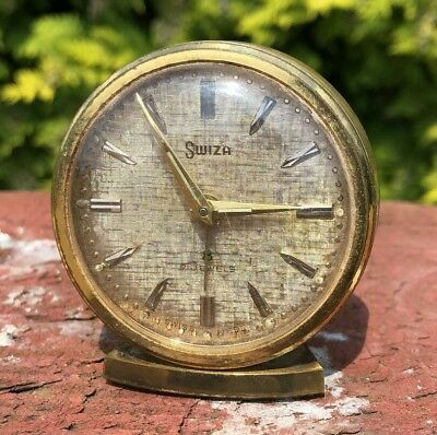 Old Vintage SWIZA Alarm Clock 8 Day With 7 Jewels In Working Order  *