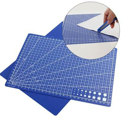 1xBlue A4 PVC Self Healing Cutting Mat Craft Quilting Grid Lines Printed-""