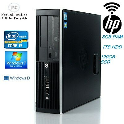 Cheap HP Elite 8200 SFF Fast Intel Core i3 3.1GHz WiFi SSD Windows 7/10 Pro PC