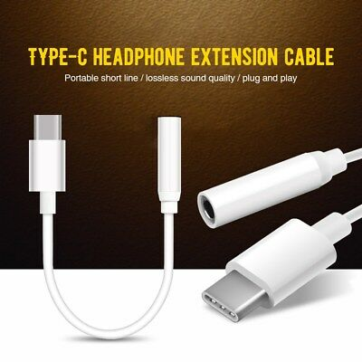 USB C Adapter Type C Port to 3.5mm Aux Audio Jack Earphone Cable USB 3.1 White
