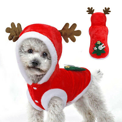 Red Fleece Warm Christmas Tree Elk Dog Clothes Small Puppy Kitten Winter Costume