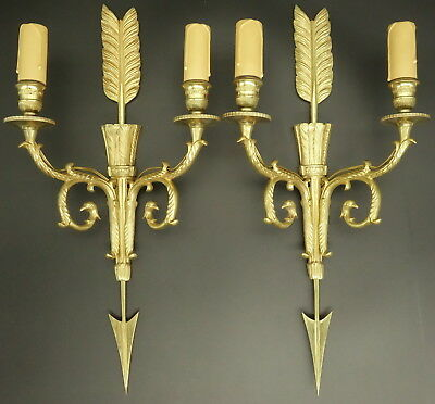 Pair Of Large Sconces, Arrow And Quiver, Empire Style - Bronze - French Antique