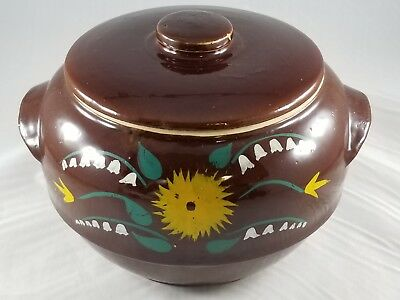 Awesome Vintage~ Brown Glazed Hand Painted~USA Pottery Stoneware Lidded Bean Pot