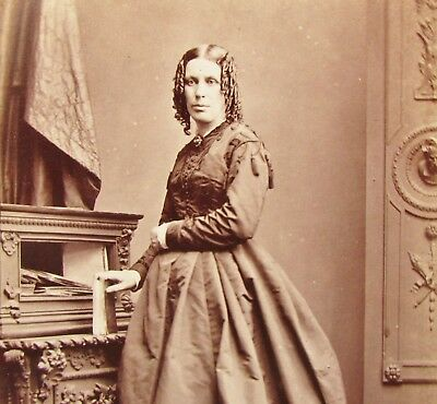 Cdv Lady Ringlets In Hair Dress Book Lafosse Manchester Antique Photo Leigh