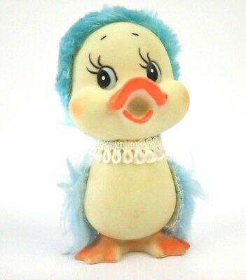 "Vtg 60s 70s Easter Toy Rubber Duck / Chick Duckling Korea Fur Furry 4"" Rare HTF"