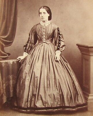 Cdv Lady Striped Hooped Dress Paisley Scotland Named Antique Photo Victorian