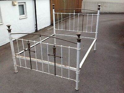 Victorian Style King size Cast Iron Bed Frame With Brass Decoration