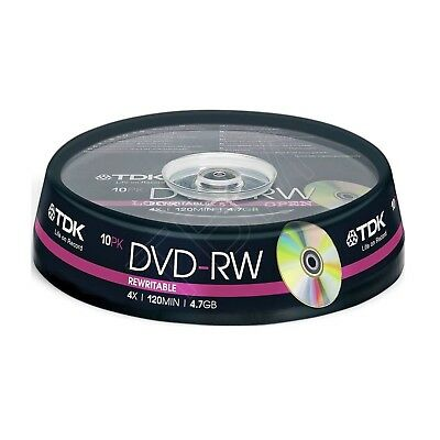 TDK DVD-RW 4.7GB 4x 120Min Rewritable Recordable Blank Discs 10 Pack Spinde x 5