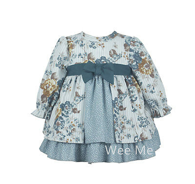 New Winter Gorgeous Baby Girl Spanish Floral Print Long Sleeve Dress Frill