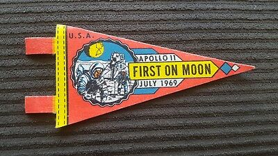 """Vintage Authentic NASA Apollo 11 First on Moon  July 1969 7"""" Mini Red Pennant"""