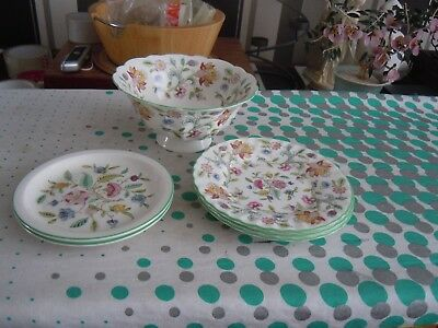 "minton haddon hall 3x6.25"",2x5.5"" plates + fluted footed bowl 6.5"" x3.25"" deep"