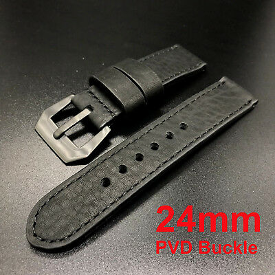 24mm Solid Black Cow Leather PAM Panerai Watch Strap Band+Buckle for 44mm Men