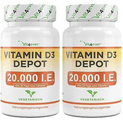 2x Vitamin D3 20.000 I.E. = 480 Tabletten - Hochdosiert mit 20000 IU IE Vit4ever