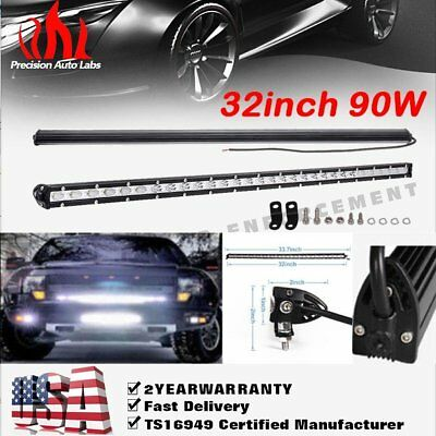 "32""inch 90W Slim Led Work Light Bar Flood & Spot Combo Beam Driving Lamp SUV ATV"