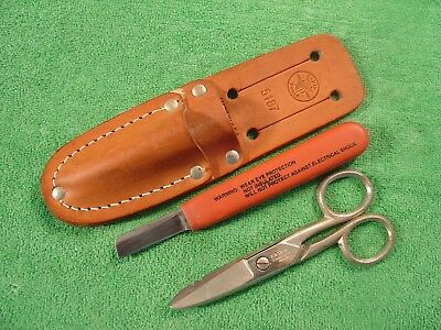 KLEIN TOOLS No.2100-7 SCISSORS + No.5187 SHEATH WITH KNIFE LOT OF3  MADE IN USA