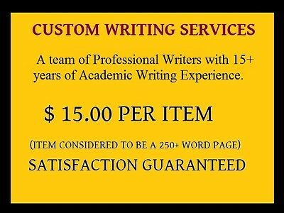 Custom Writing Services I Essays-Term-Research Papers-PP Presentations- $15 /pg.