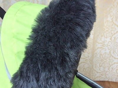 Fur Hood Fur Trim for Dolls Prams in Dark Grey/ Black dolls pram