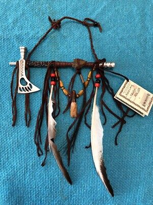 """Navajo Peace Pipe With Metal AX Bowl & Mouthpiece 8"""" Works by Fidelia Beaver"""