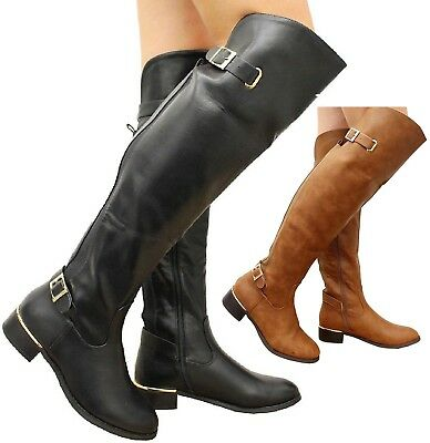 Ladies Womens Over The Knee Elasticated Wide Calf Flat Riding Buckle Boots Size