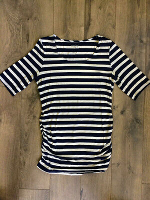 A Pea In The Pod Maternity Medium Ruched Striped Long Legging Shirt Top Navy