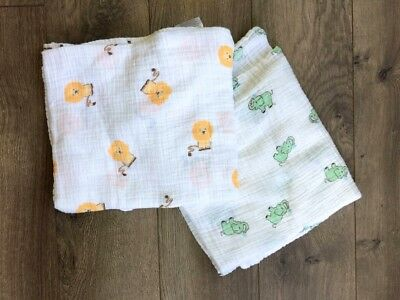 Lot of 2 Aden and Anais Cotton Muslin Swaddle Blankets Unisex Lion Elephant