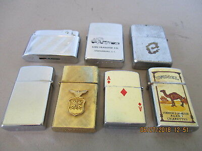 7 Cigarette Lighters      Zippo   Prence   Roman  Bentley   Sold As Pictured