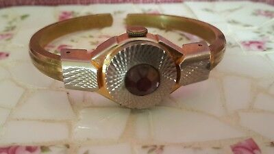 Art Deco WATCH  Vento 17 jewel  Amerthyst in middle  Swiss made WATCH
